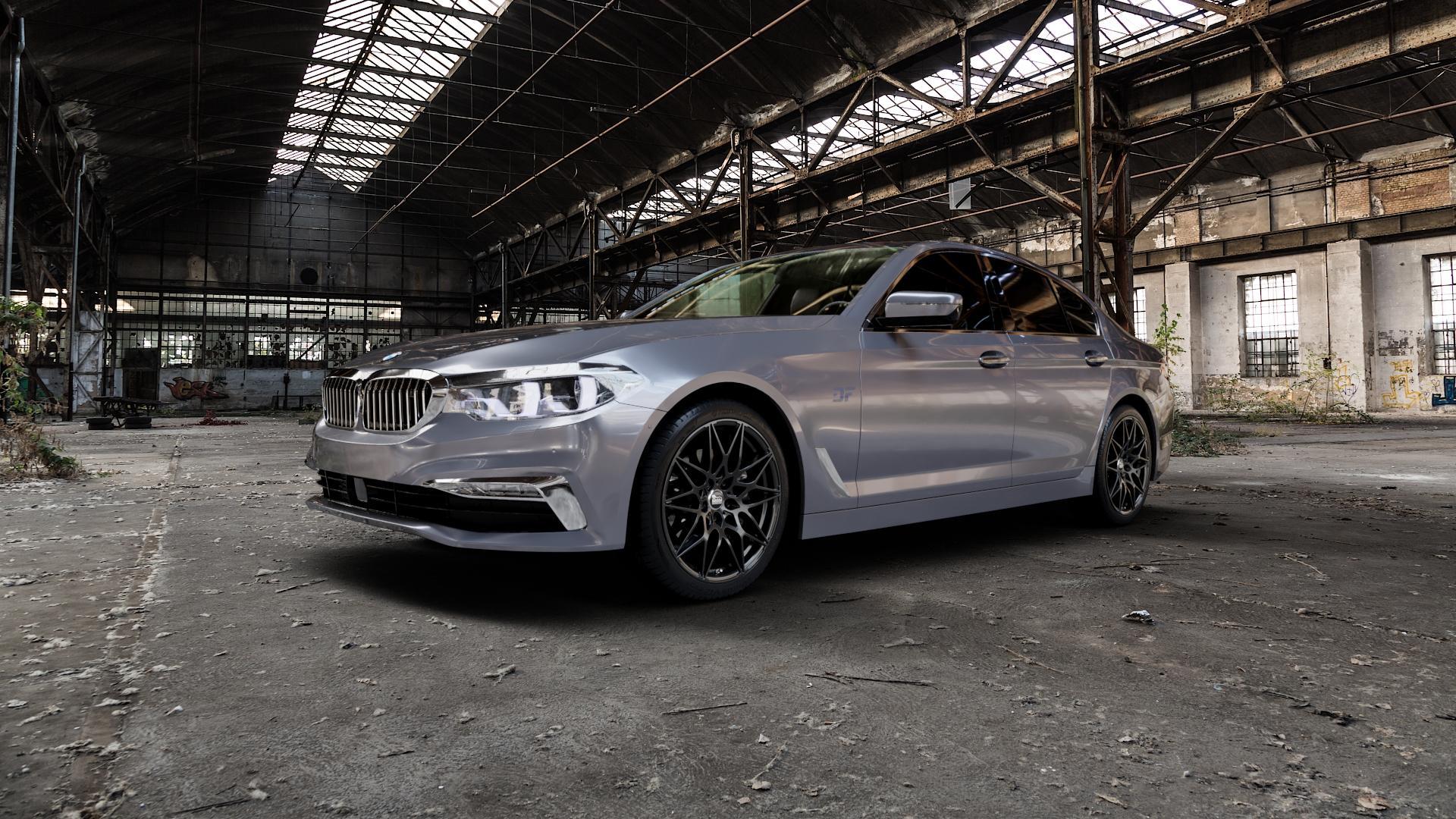 MAM B2 BLACK PAINTED Felge mit Reifen schwarz in 19Zoll Winterfelge Alufelge auf silbernem BMW 5er G30 Limousine (G5L) ⬇️ mit 15mm Tieferlegung ⬇️ Industriehalle 1 Camera_000
