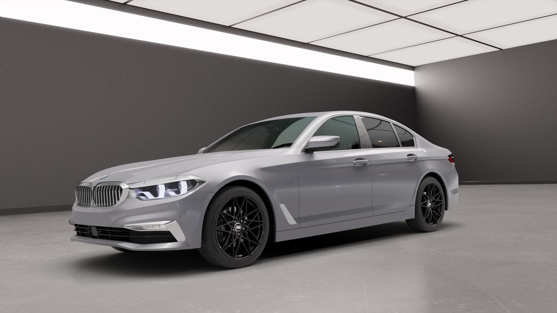 MAM B2 BLACK PAINTED Felge mit Reifen schwarz in 19Zoll Winterfelge Alufelge auf silbernem BMW 5er G30 Limousine (G5L) ⬇️ mit 15mm Tieferlegung ⬇️ Neutral_mid_max5300mm Frontansicht_1