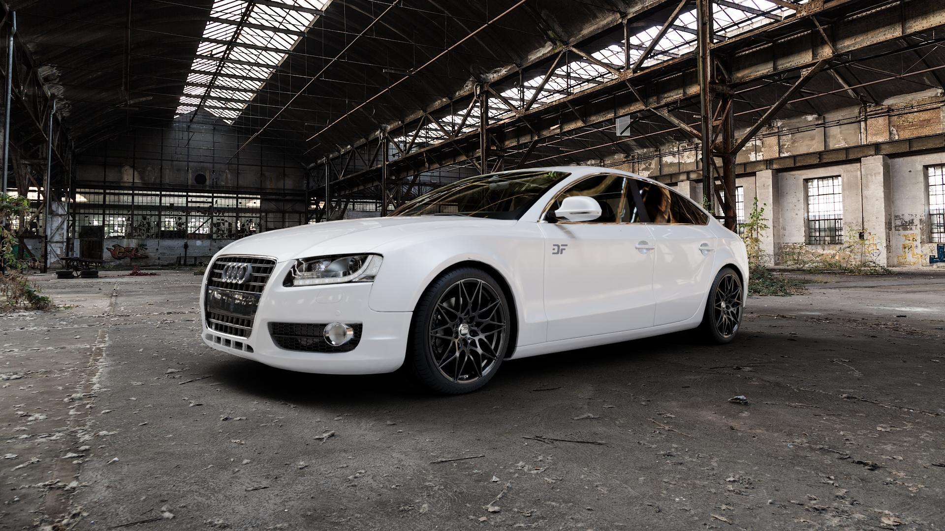 MAM B2 BLACK PAINTED Felge mit Reifen schwarz in 19Zoll Winterfelge Alufelge auf weissem Audi A5 Typ B8 (Sportback) ⬇️ mit 15mm Tieferlegung ⬇️ Industriehalle 1 Camera_000