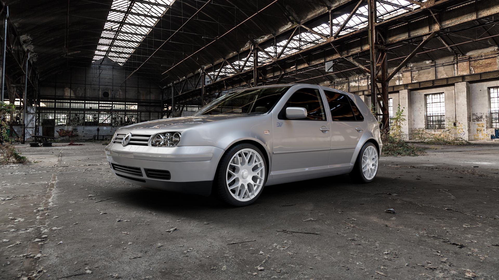 MAM GT1 SILVER PAINTED Felge mit Reifen silber in 18Zoll Winterfelge Alufelge auf silbernem Volkswagen (VW) Golf 4 ⬇️ mit 15mm Tieferlegung ⬇️ Industriehalle 1 Camera_000