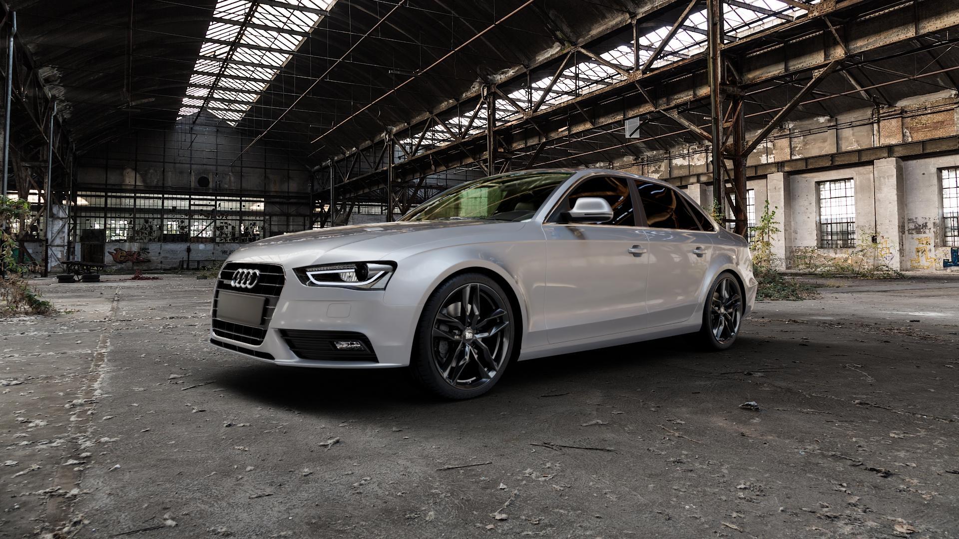 MAM RS3 BLACK PAINTED Felge mit Reifen schwarz in 19Zoll Winterfelge Alufelge auf silbernem Audi A4 Typ 8K2/B8 (Limousine) Facelift ⬇️ mit 15mm Tieferlegung ⬇️ Industriehalle 1 Camera_000