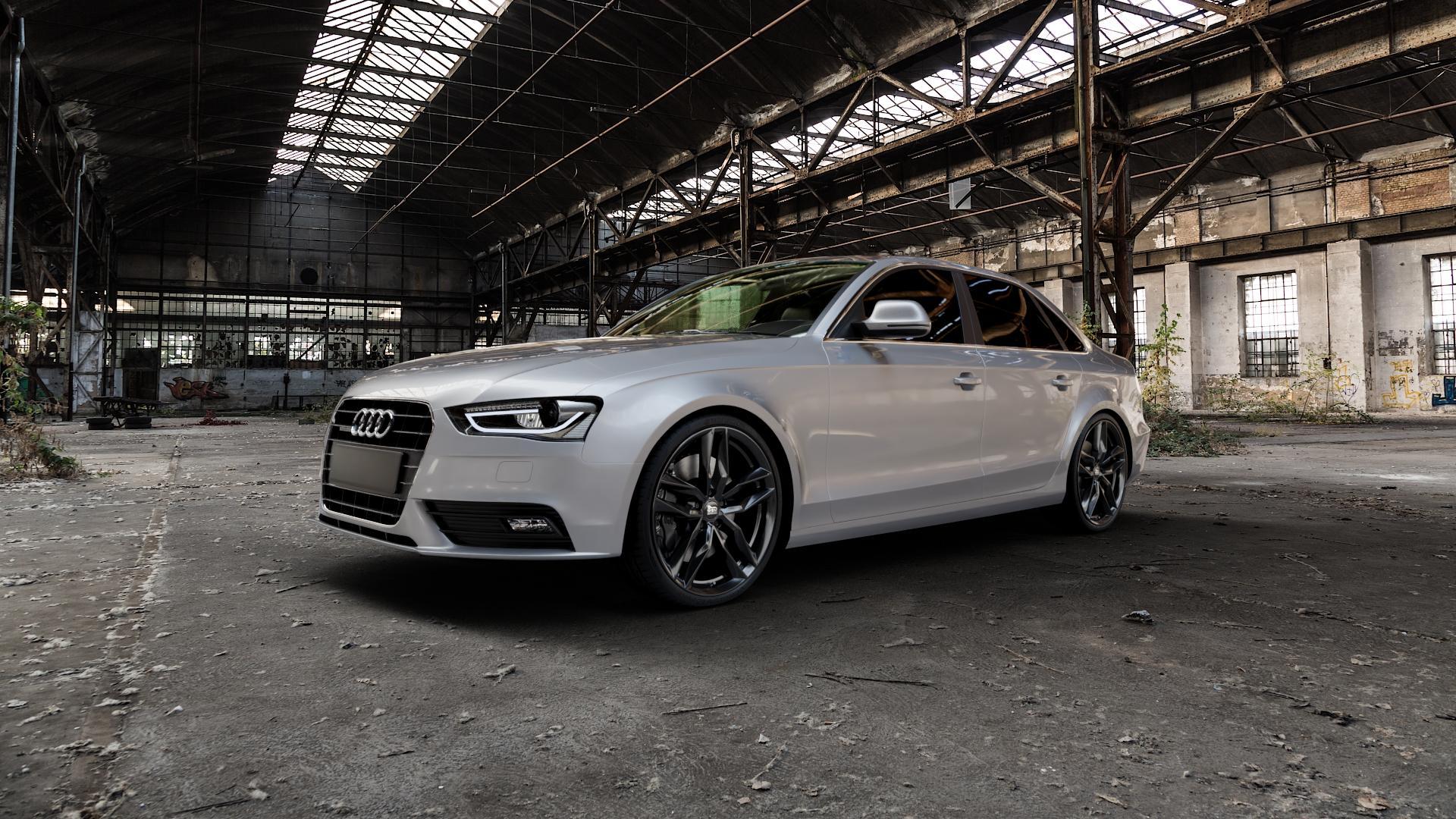 MAM RS3 BLACK PAINTED Felge mit Reifen schwarz in 20Zoll Winterfelge Alufelge auf silbernem Audi A4 Typ 8K2/B8 (Limousine) Facelift ⬇️ mit 15mm Tieferlegung ⬇️ Industriehalle 1 Camera_000