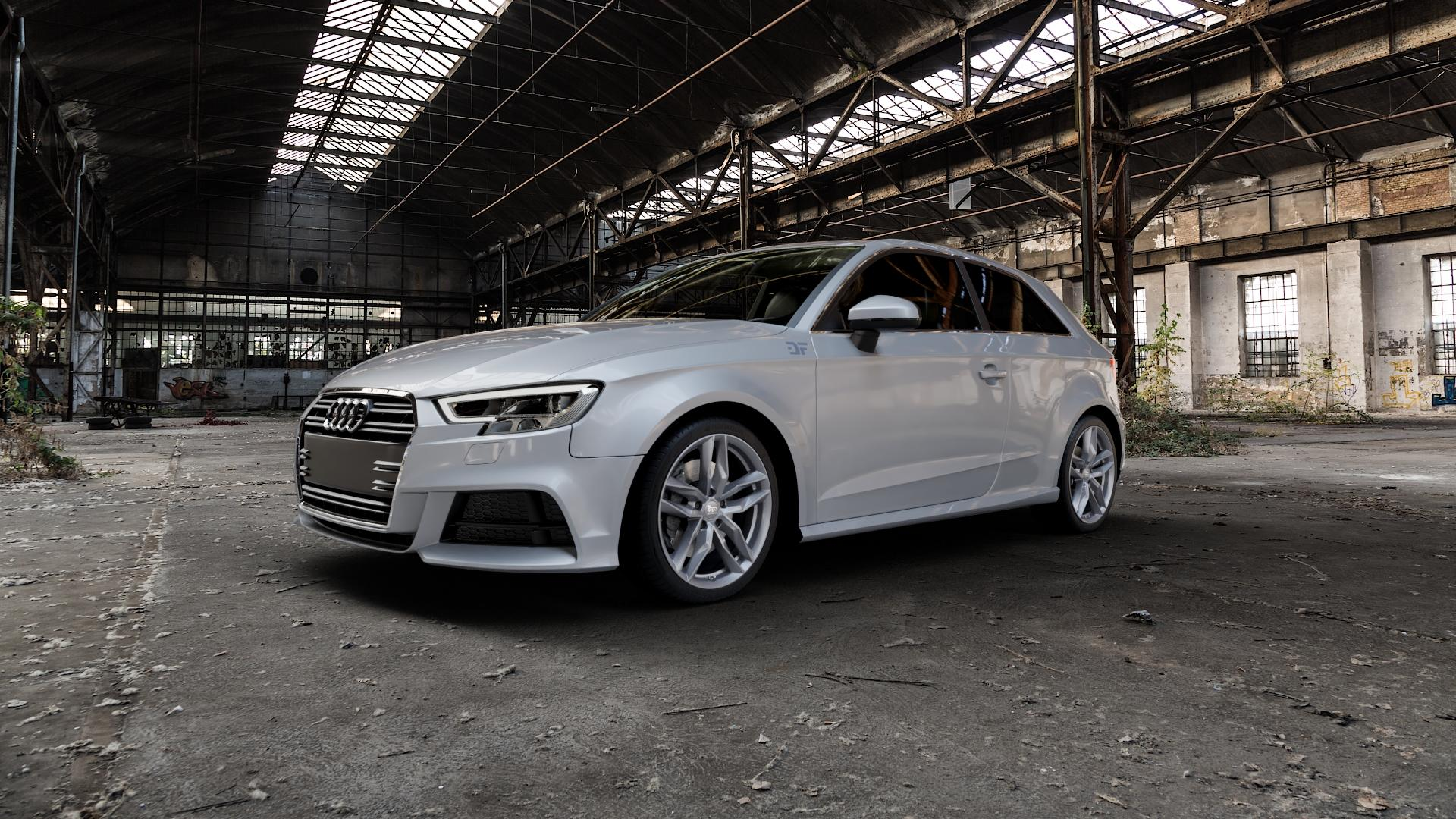 MAM RS3 PALLADIUM PAINTED Felge mit Reifen anthrazit in 18Zoll Winterfelge Alufelge auf silbernem Audi A3 Typ 8V Facelift ⬇️ mit 15mm Tieferlegung ⬇️ Industriehalle 1 Camera_000