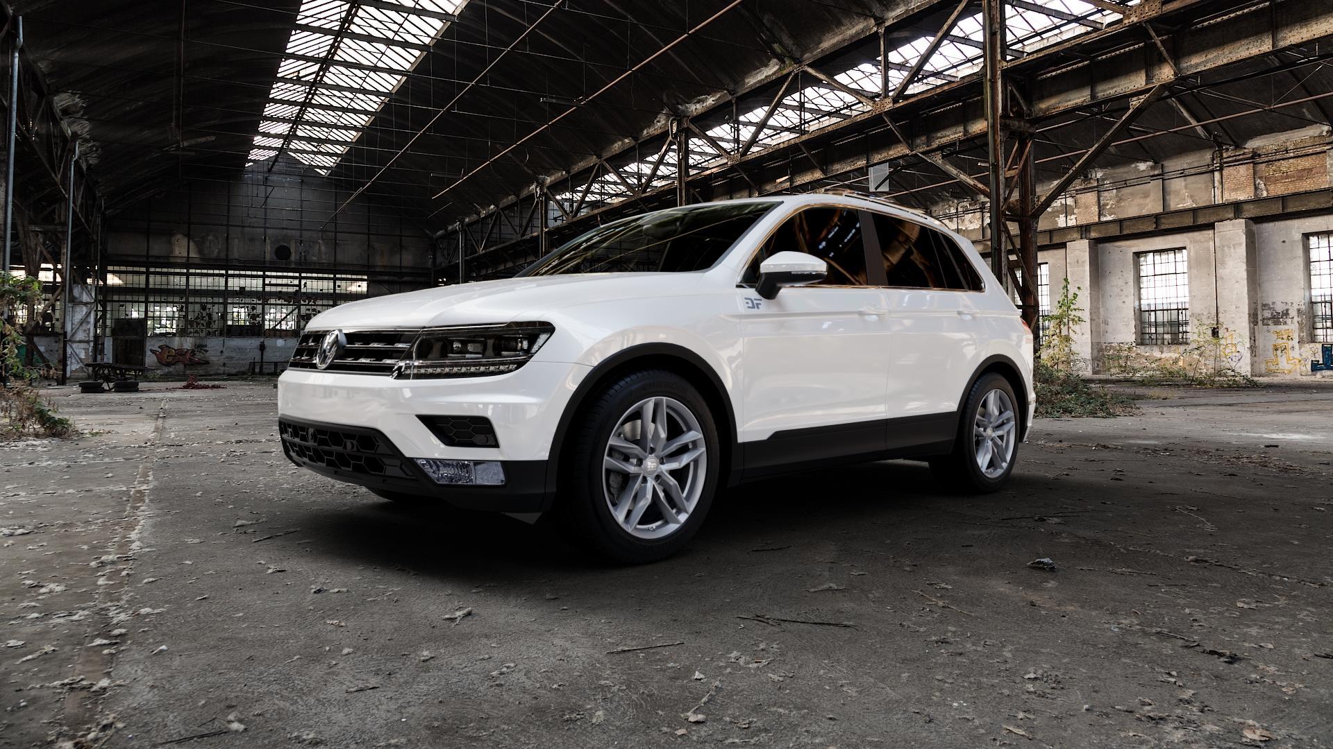 MAM RS3 PALLADIUM PAINTED Felge mit Reifen anthrazit in 18Zoll Winterfelge Alufelge auf weissem Volkswagen (VW) Tiguan II Typ 5N ⬇️ mit 15mm Tieferlegung ⬇️ Industriehalle 1 Camera_000