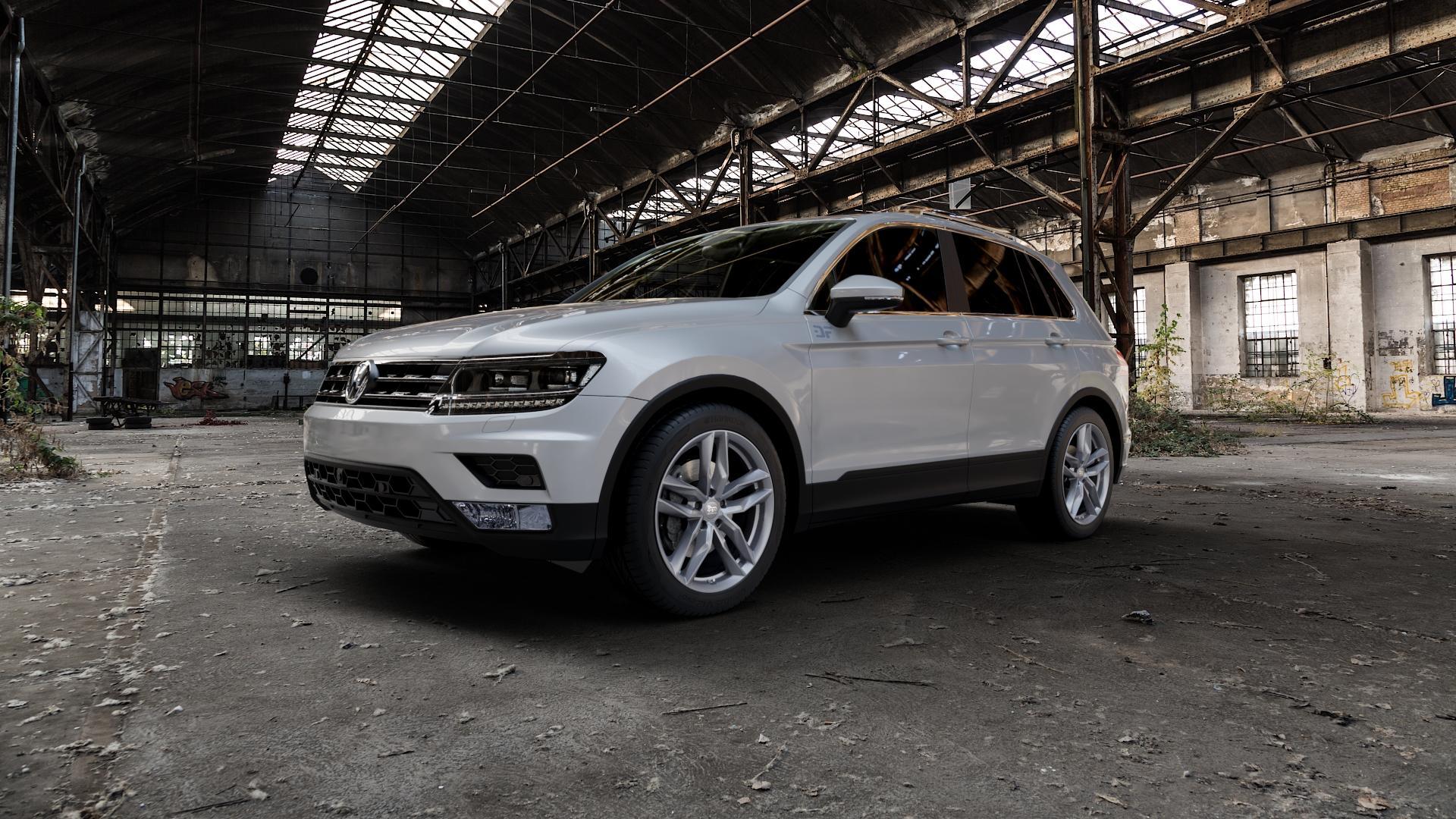 MAM RS3 PALLADIUM PAINTED Felge mit Reifen anthrazit in 19Zoll Winterfelge Alufelge auf silbernem Volkswagen (VW) Tiguan II Typ 5N ⬇️ mit 15mm Tieferlegung ⬇️ Industriehalle 1 Camera_000