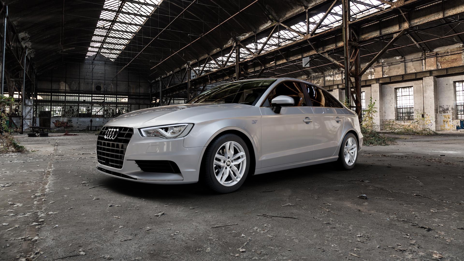 MAM RS3 SILVER PAINTED Felge mit Reifen silber in 16Zoll Winterfelge Alufelge auf silbernem Audi A3 Typ 8V (Limousine) ⬇️ mit 15mm Tieferlegung ⬇️ Industriehalle 1 Camera_000