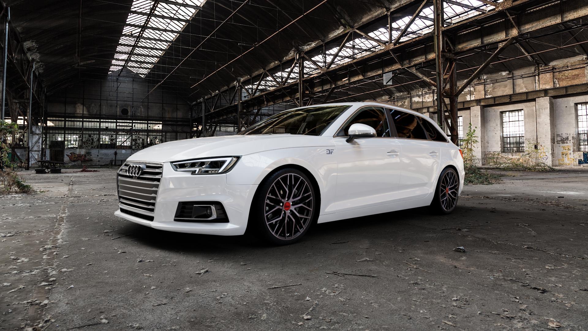 MAM RS4 BLACK EDITION Felge mit Reifen schwarz in 19Zoll Winterfelge Alufelge auf weissem Audi A4 Typ B9 (Avant) ⬇️ mit 15mm Tieferlegung ⬇️ Industriehalle 1 Camera_000