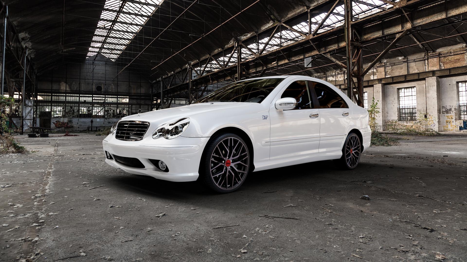 MAM RS4 BLACK EDITION Felge mit Reifen schwarz in 19Zoll Winterfelge Alufelge auf weissem Mercedes C-Klasse Typ W203 Limousine S203 Kombi ⬇️ mit 15mm Tieferlegung ⬇️ Industriehalle 1 Camera_000