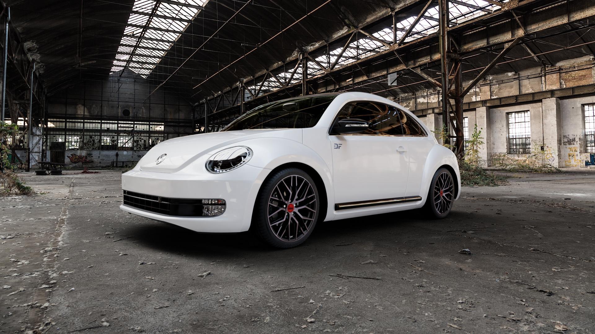 MAM RS4 BLACK EDITION Felge mit Reifen schwarz in 19Zoll Winterfelge Alufelge auf weissem Volkswagen (VW) The Beetle Typ 16 ⬇️ mit 15mm Tieferlegung ⬇️ Industriehalle 1 Camera_000