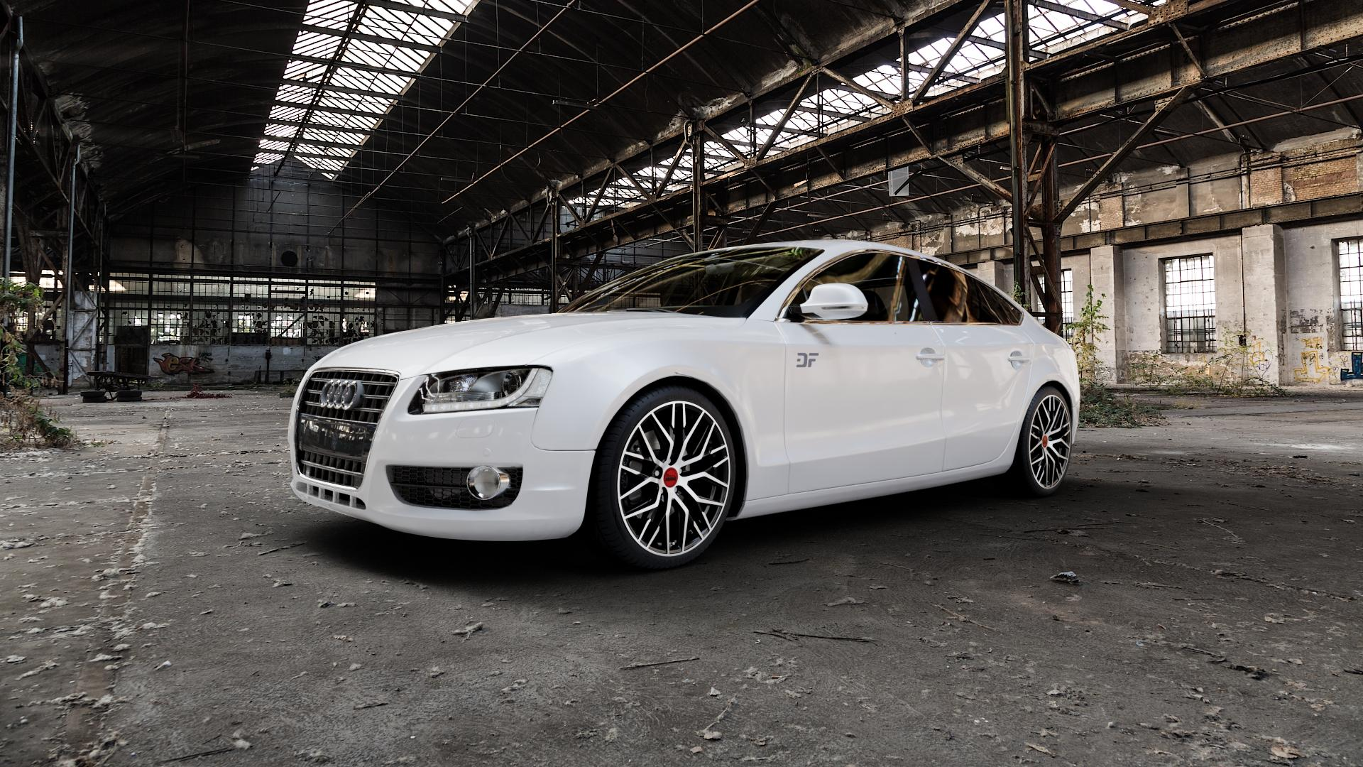 MAM RS4 BLACK FRONT POLISH Felge mit Reifen schwarz in 19Zoll Winterfelge Alufelge auf weissem Audi A5 Typ B8 (Sportback) ⬇️ mit 15mm Tieferlegung ⬇️ Industriehalle 1 Camera_000