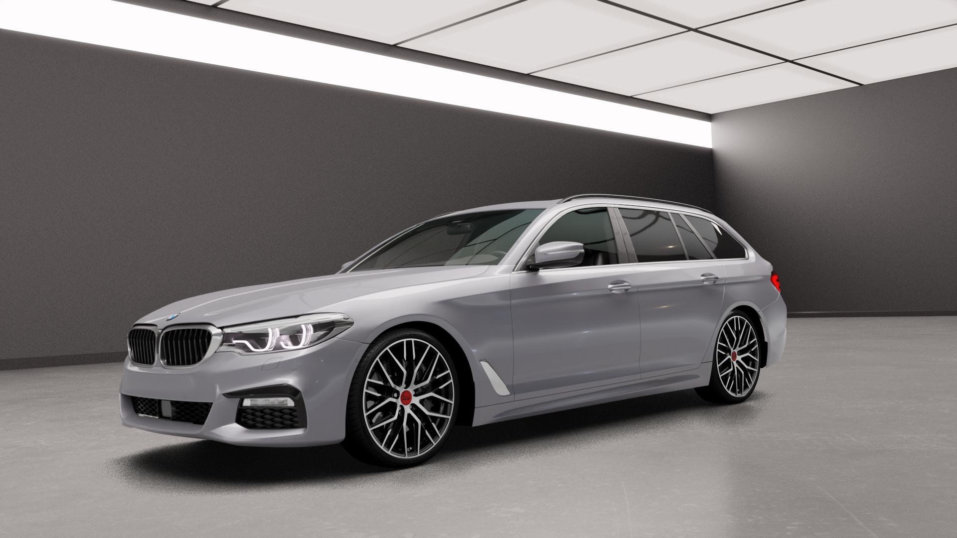 MAM RS4 BLACK FRONT POLISH Felge mit Reifen schwarz in 20Zoll Alufelge auf silbernem BMW 5er G31 Touring (G5K) ⬇️ mit 15mm Tieferlegung ⬇️ Neutral_mid_max5300mm Frontansicht_1