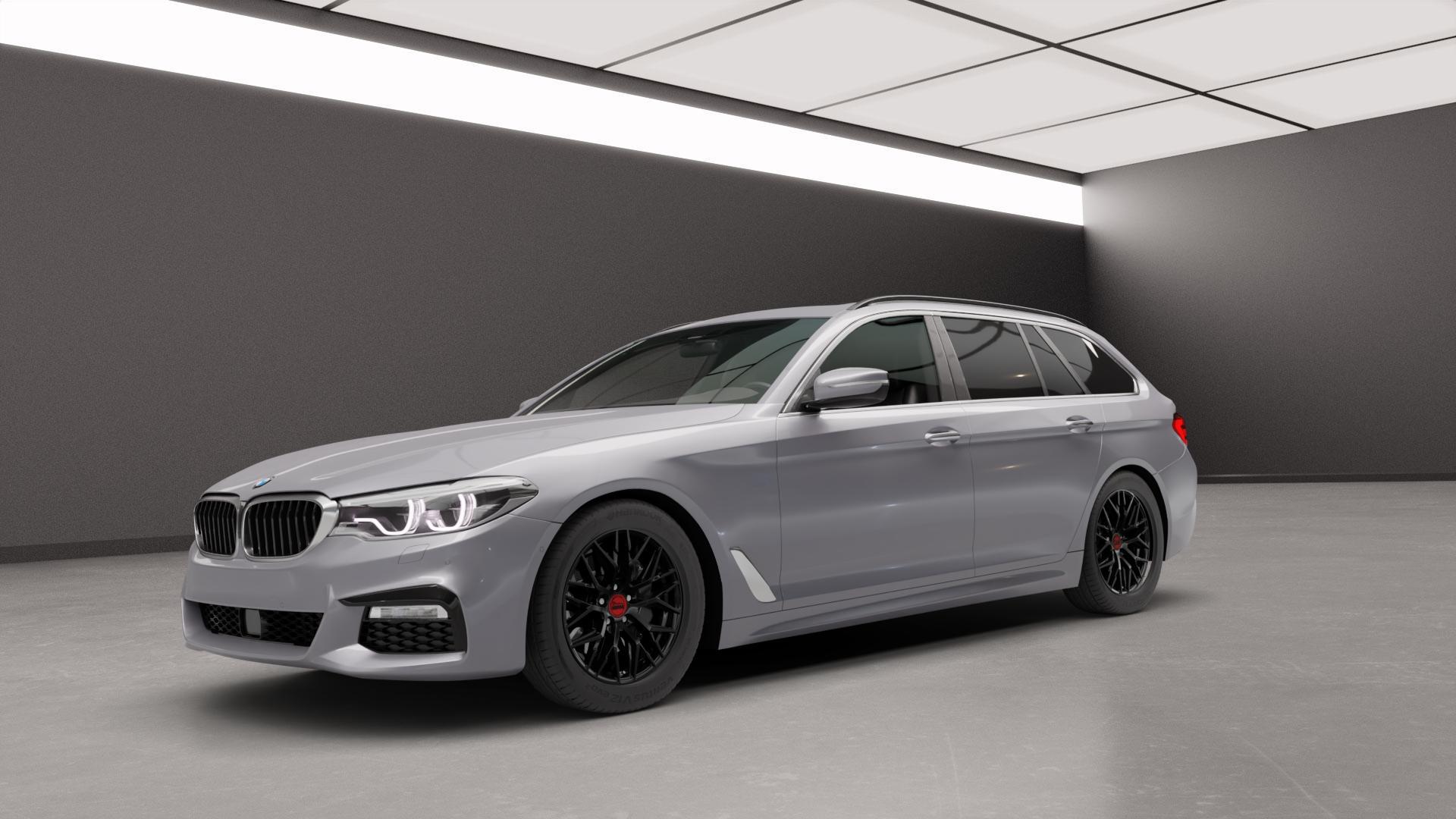 MAM RS4 BLACK PAINTED Felge mit Reifen schwarz in 17Zoll Winterfelge Alufelge auf silbernem BMW 5er G31 Touring (G5K) ⬇️ mit 15mm Tieferlegung ⬇️ Neutral_mid_max5300mm Frontansicht_1
