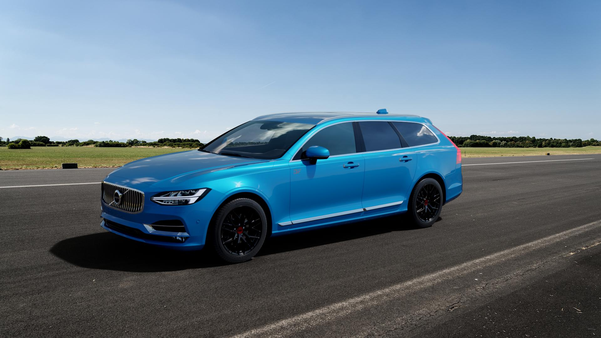 MAM RS4 BLACK PAINTED Felge mit Reifen schwarz in 18Zoll Winterfelge Alufelge auf hellblau Volvo V90 II Typ P ⬇️ mit 15mm Tieferlegung ⬇️ Big_Vehicle_Airstrip_1 Frontansicht_1