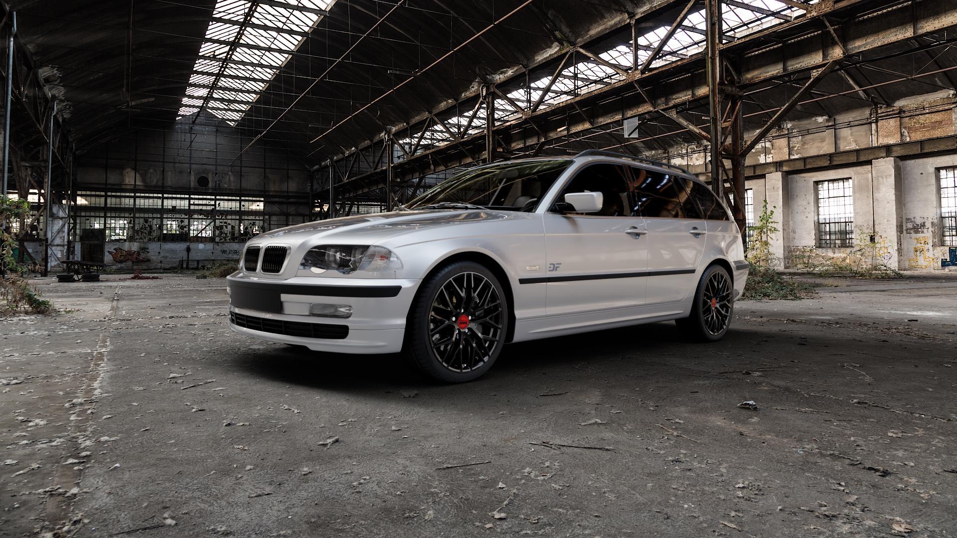 MAM RS4 BLACK PAINTED Felge mit Reifen schwarz in 18Zoll Winterfelge Alufelge auf silbernem BMW 316i Typ E46 (Touring) 318d 318i 320d 320i 325i 325xi 328i 330d 330i 330xd 330xi ⬇️ mit 15mm Tieferlegung ⬇️ Industriehalle 1 Camera_000