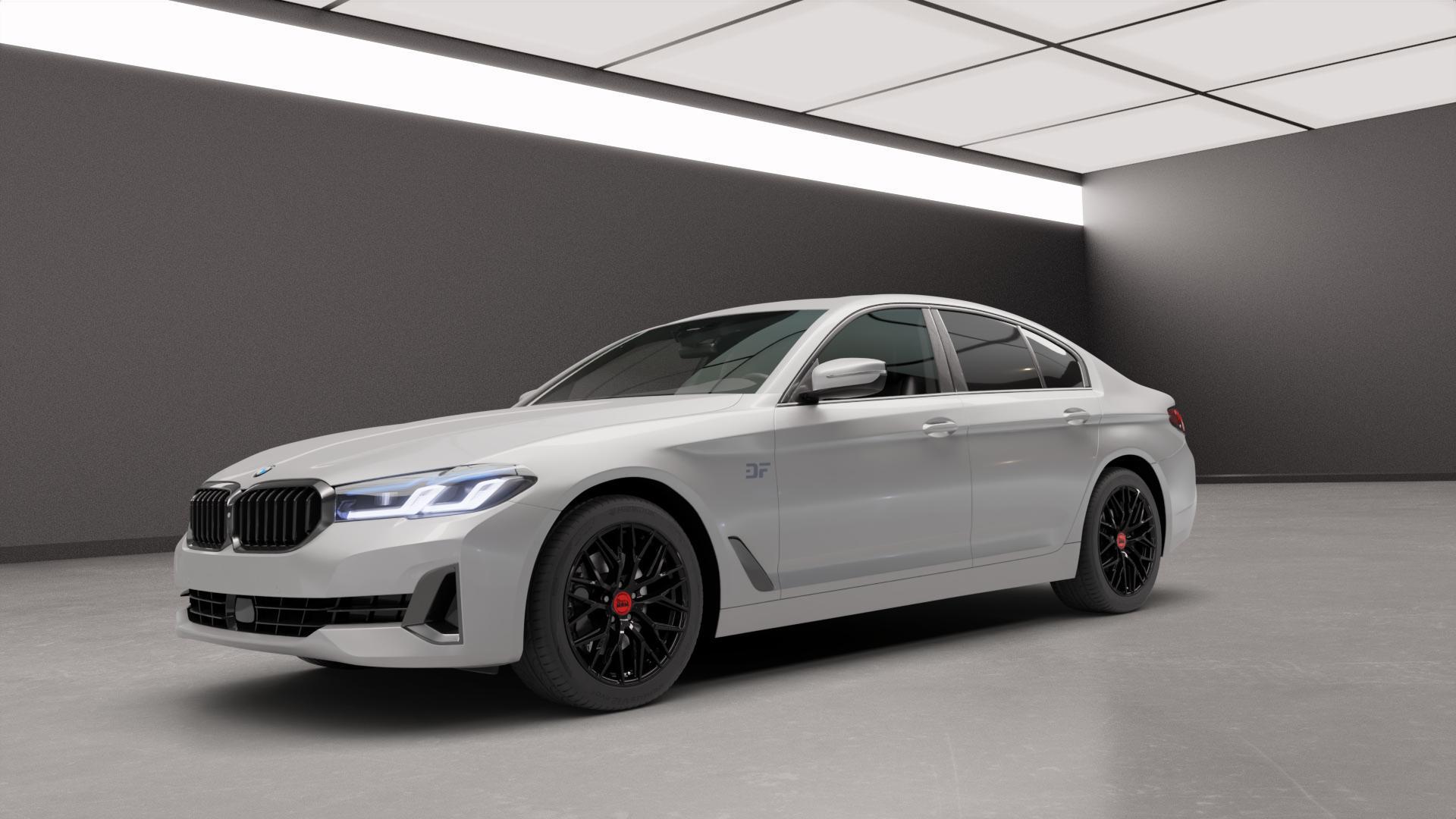 MAM RS4 BLACK PAINTED Felge mit Reifen schwarz in 18Zoll Winterfelge Alufelge auf silbernem BMW 5er G30 Limousine (G5L) Facelift ⬇️ mit 15mm Tieferlegung ⬇️ Neutral_mid_max5300mm Frontansicht_1