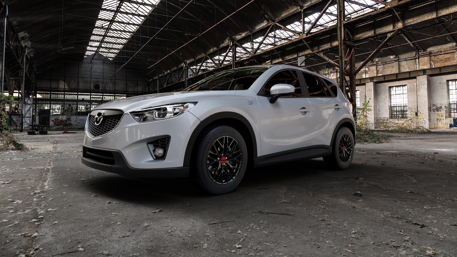MAM RS4 BLACK PAINTED Felge mit Reifen schwarz in 18Zoll Winterfelge Alufelge auf silbernem Mazda CX-5 Typ KE ⬇️ mit 15mm Tieferlegung ⬇️ Industriehalle 1 Camera_000