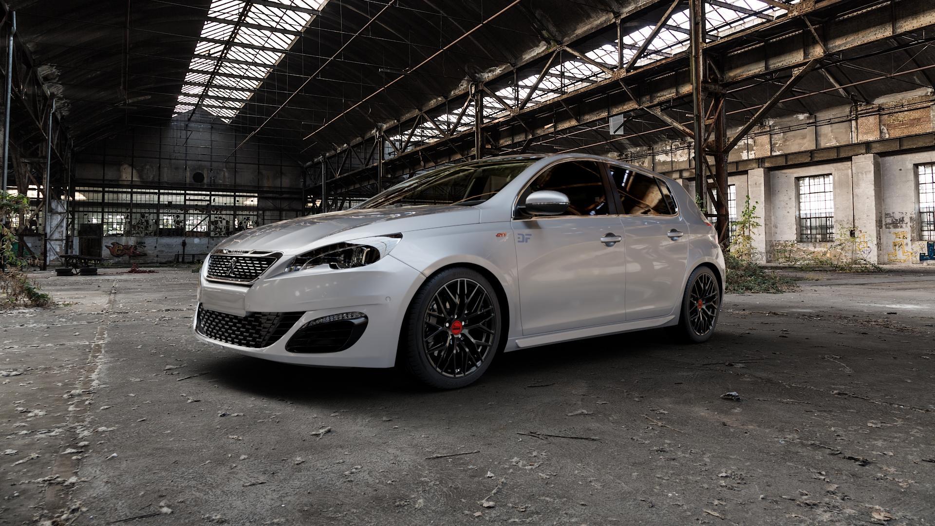 MAM RS4 BLACK PAINTED Felge mit Reifen schwarz in 18Zoll Winterfelge Alufelge auf silbernem Peugeot 308 II Typ L Facelift ⬇️ mit 15mm Tieferlegung ⬇️ Industriehalle 1 Camera_000