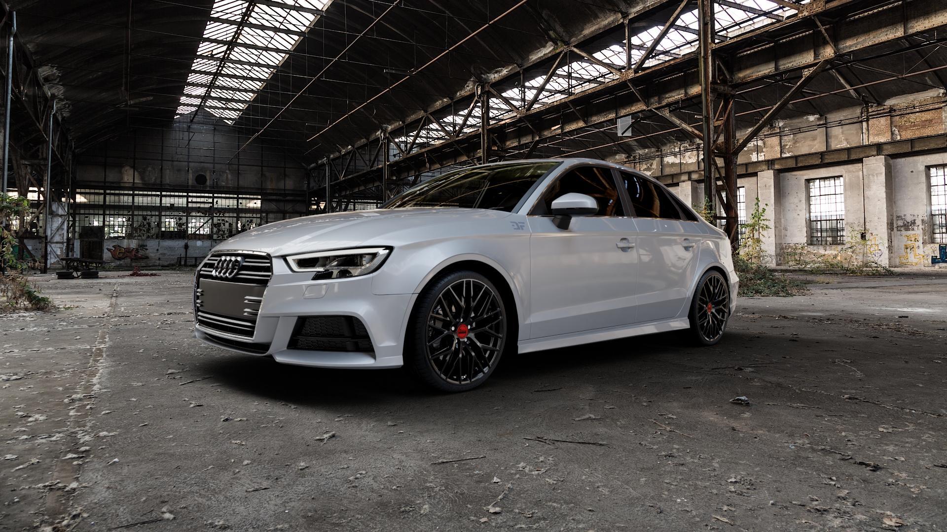MAM RS4 BLACK PAINTED Felge mit Reifen schwarz in 19Zoll Winterfelge Alufelge auf silbernem Audi A3 Typ 8V (Limousine) Facelift ⬇️ mit 15mm Tieferlegung ⬇️ Industriehalle 1 Camera_000