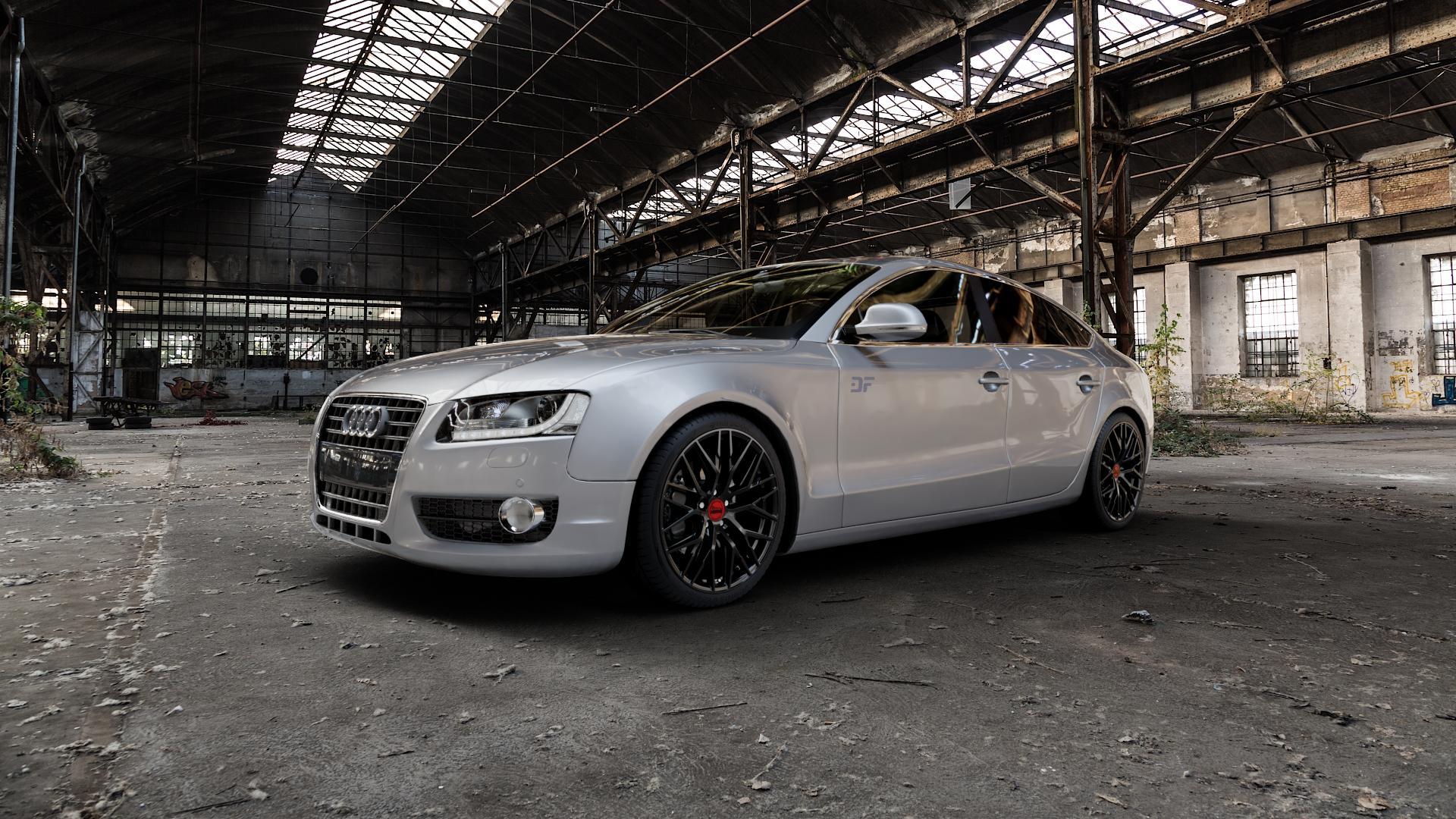 MAM RS4 BLACK PAINTED Felge mit Reifen schwarz in 19Zoll Winterfelge Alufelge auf silbernem Audi A5 Typ B8 (Sportback) ⬇️ mit 15mm Tieferlegung ⬇️ Industriehalle 1 Camera_000