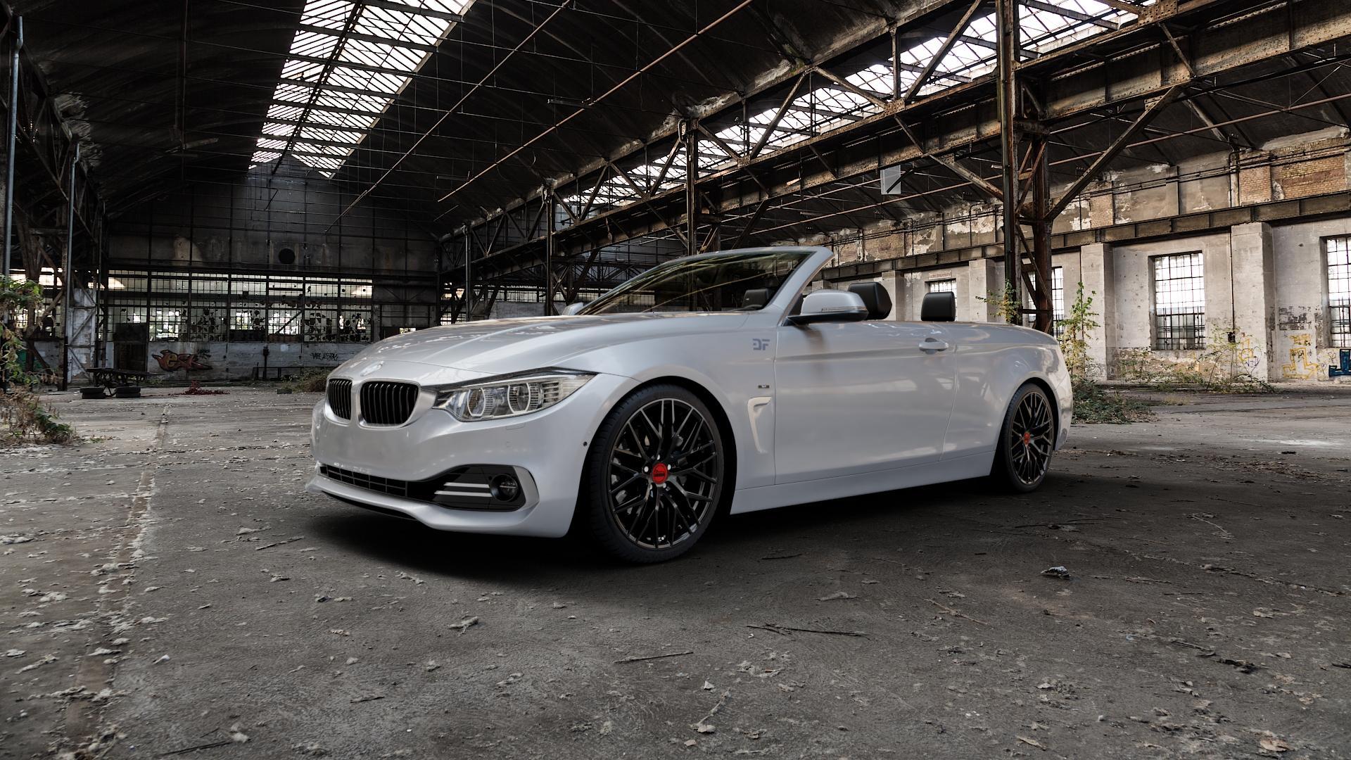 MAM RS4 BLACK PAINTED Felge mit Reifen schwarz in 19Zoll Winterfelge Alufelge auf silbernem BMW 428i Typ F33 (Cabrio) 435i 420d xDrive 420i 425d 430d 435d 430i 440i ⬇️ mit 15mm Tieferlegung ⬇️ Industriehalle 1 Camera_000