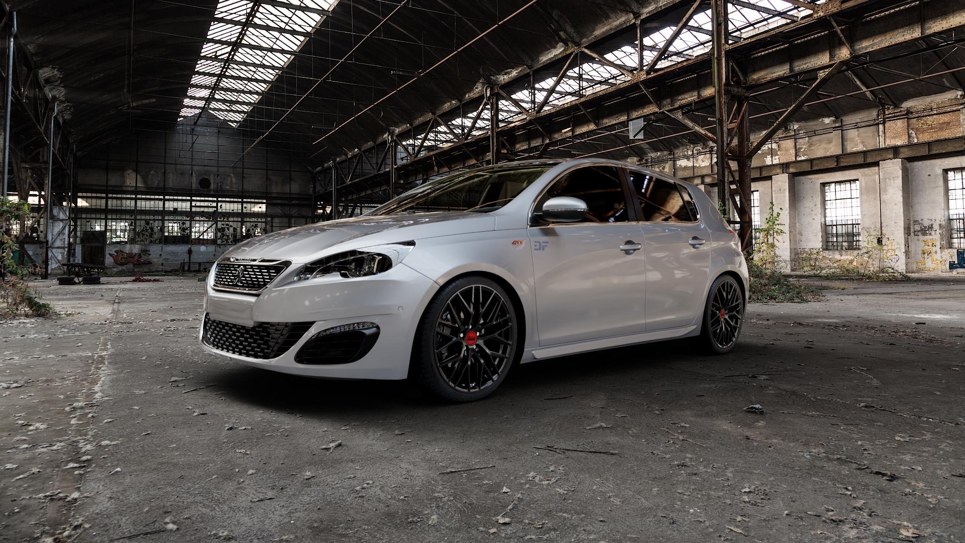 MAM RS4 BLACK PAINTED Felge mit Reifen schwarz in 19Zoll Winterfelge Alufelge auf silbernem Peugeot 308 II Typ L Facelift ⬇️ mit 15mm Tieferlegung ⬇️ Industriehalle 1 Camera_000