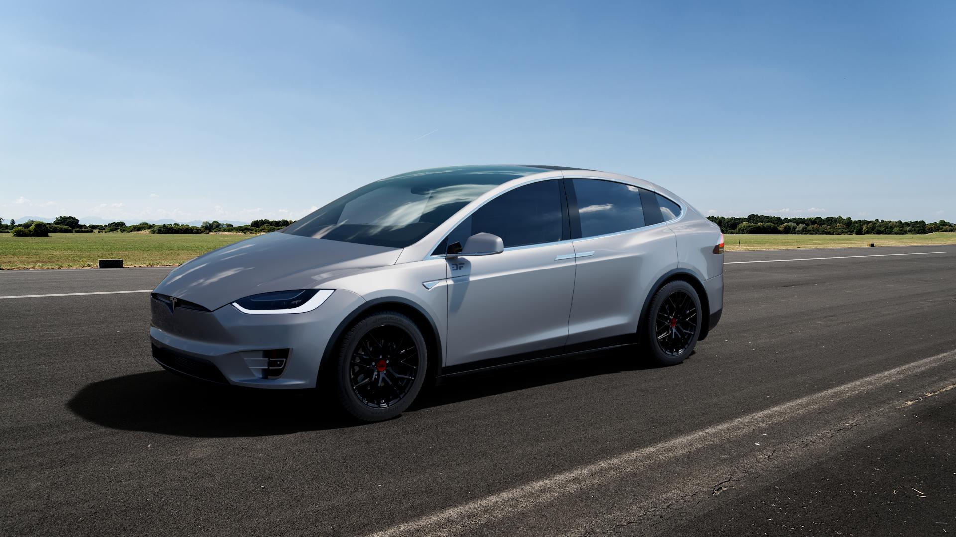 MAM RS4 BLACK PAINTED Felge mit Reifen schwarz in 19Zoll Winterfelge Alufelge auf silbernem Tesla Model X Typ 002 ⬇️ mit 15mm Tieferlegung ⬇️ Big_Vehicle_Airstrip_1 Frontansicht_1