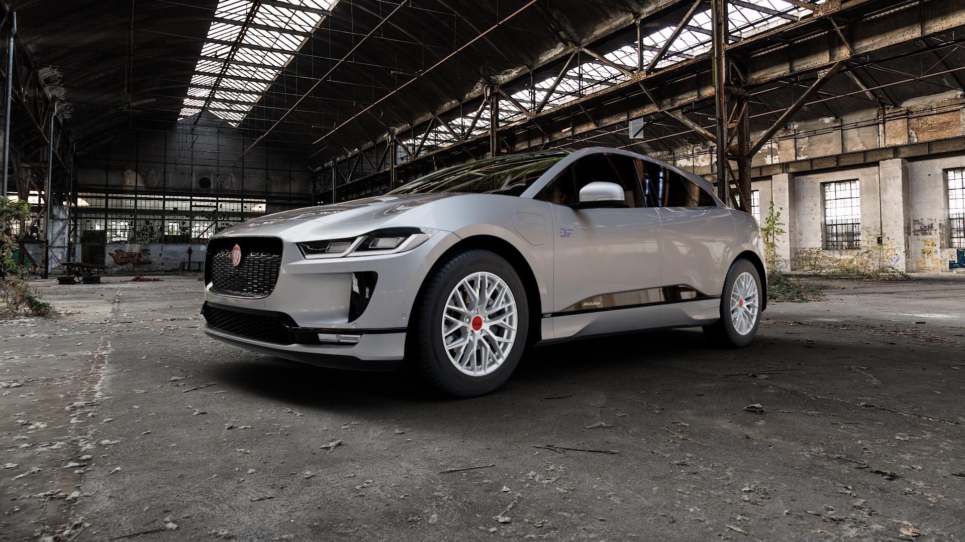 MAM RS4 MATT SILVER PAINTED Felge mit Reifen silber in 18Zoll Winterfelge Alufelge auf silbernem Jaguar i-Pace ⬇️ mit 15mm Tieferlegung ⬇️ Industriehalle 1 Camera_000
