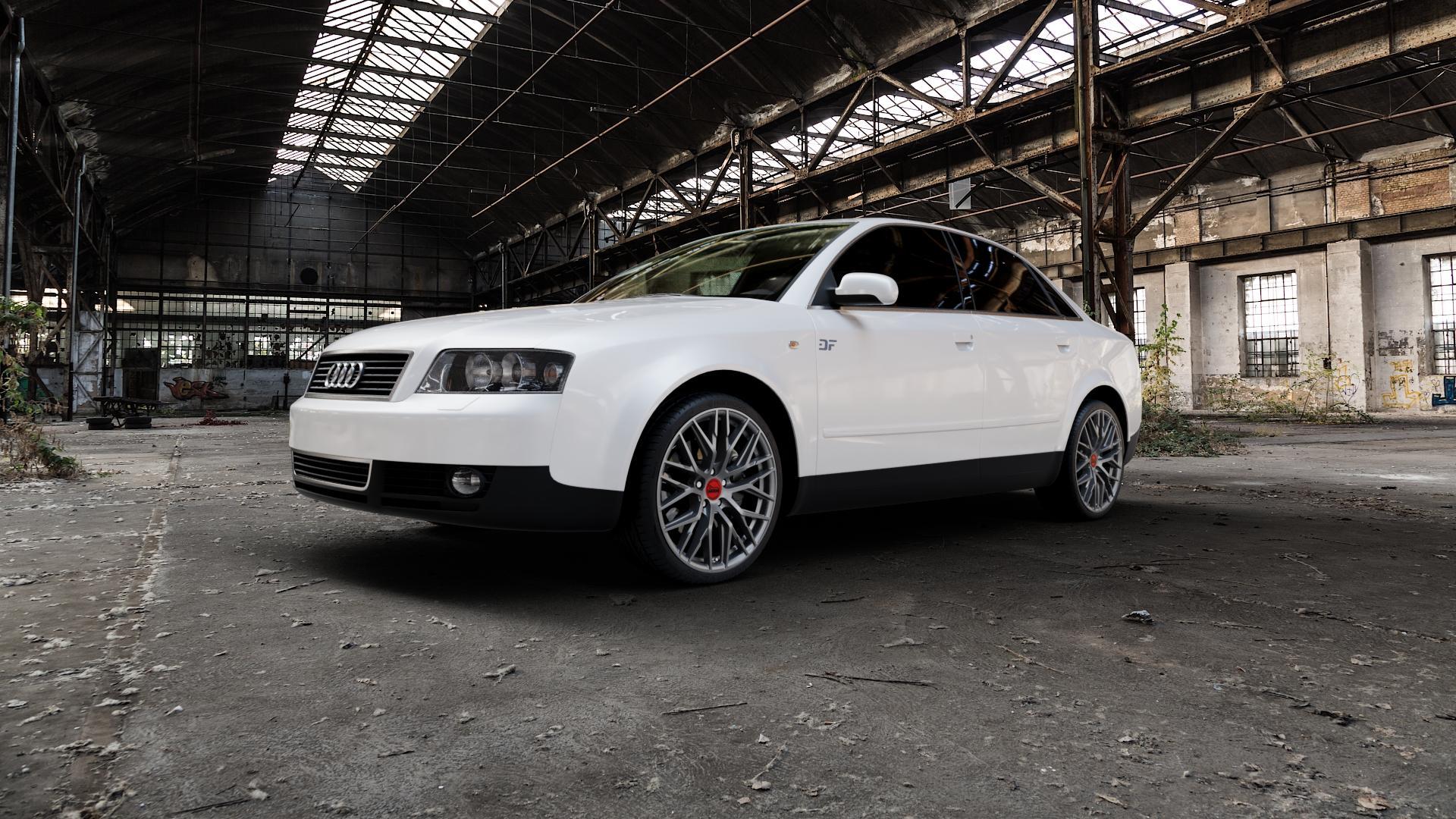 MAM RS4 PALLADIUM PAINTED Felge mit Reifen grau anthrazit in 19Zoll Winterfelge Alufelge auf weissem Audi A4 Typ 8E2/B6 (Limousine) ⬇️ mit 15mm Tieferlegung ⬇️ Industriehalle 1 Camera_000