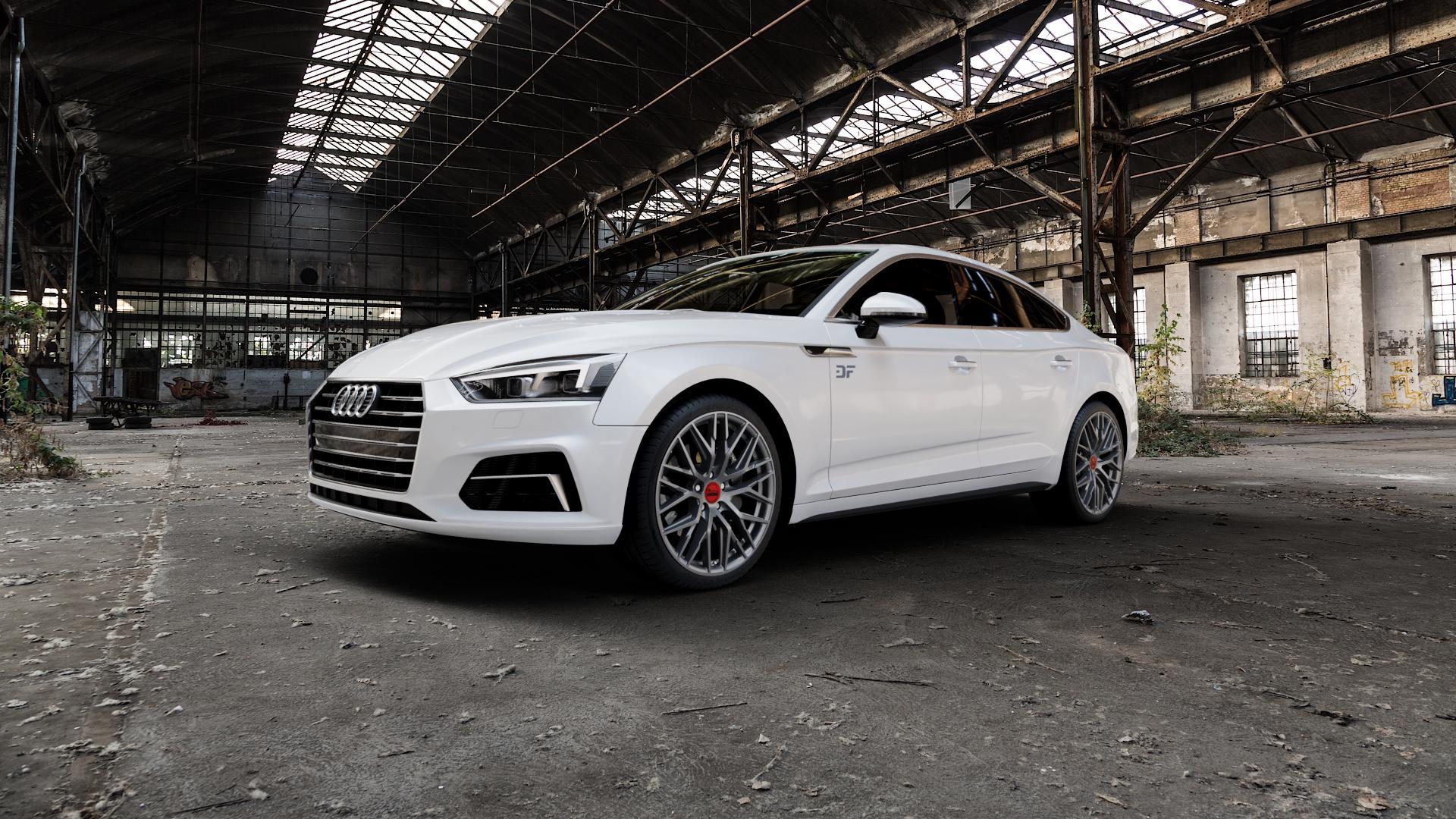 MAM RS4 PALLADIUM PAINTED Felge mit Reifen grau anthrazit in 19Zoll Winterfelge Alufelge auf weissem Audi A5 Typ B9 (Sportback) 2,0l TDI 140kW (190 PS) quattro TFSI 185kW (252 3,0l 160kW (218 200kW (272 1,4l 110kW (150 183kW (249 g-tron 125kW (170 Mild-Hybrid 100kW (136 210kW (286 45 180kW (245 35 40 50 170kW (231 120kW (163 30 ⬇️ mit 15mm Ti