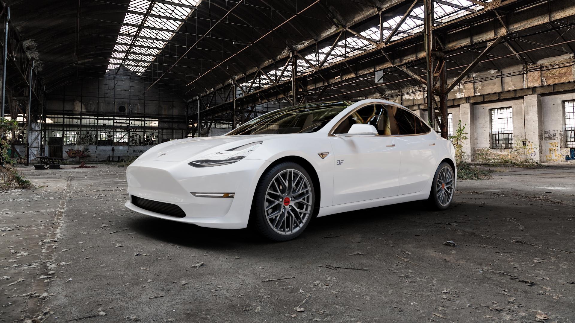 MAM RS4 PALLADIUM PAINTED Felge mit Reifen grau anthrazit in 19Zoll Winterfelge Alufelge auf weissem Tesla Model 3 Typ 003 ⬇️ mit 15mm Tieferlegung ⬇️ Industriehalle 1 Camera_000