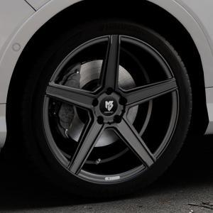 MB-DESIGN KV1 Mattschwarz Felge mit Reifen in 19Zoll Winterfelge Alufelge auf silbernem Ford Kuga II Facelift (15->) (17->) ⬇️ mit 15mm Tieferlegung ⬇️ Industriehalle 1 Thumbnail