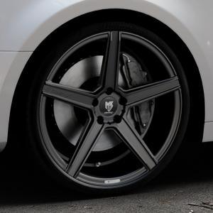MB-DESIGN KV1 Mattschwarz Felge mit Reifen in 20Zoll Winterfelge Alufelge auf silbernem Audi A4 Typ B9 (Limousine) ⬇️ mit 15mm Tieferlegung ⬇️ Industriehalle 1 Thumbnail