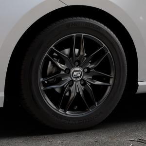 MSW 24 MATT BLACK Felge mit Reifen schwarz in 15Zoll Winterfelge Alufelge auf silbernem Seat Ibiza V Typ KJ ⬇️ mit 15mm Tieferlegung ⬇️ Industriehalle 1 Thumbnail