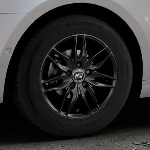 MSW 24 MATT BLACK Felge mit Reifen schwarz in 15Zoll Winterfelge Alufelge auf silbernem Skoda Octavia III Kombi Typ 5E ⬇️ mit 15mm Tieferlegung ⬇️ Industriehalle 1 Thumbnail
