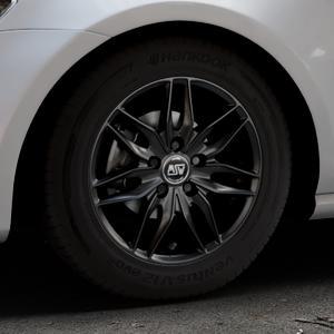 MSW 24 MATT BLACK Felge mit Reifen schwarz in 15Zoll Winterfelge Alufelge auf silbernem Volkswagen (VW) Golf 7 ⬇️ mit 15mm Tieferlegung ⬇️ Industriehalle 1 Thumbnail