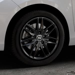 MSW 24 MATT BLACK Felge mit Reifen schwarz in 16Zoll Winterfelge Alufelge auf silbernem Toyota Yaris III Typ XP13 Facelift 17-> ⬇️ mit 15mm Tieferlegung ⬇️ Industriehalle 1 Thumbnail