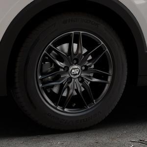 MSW 24 MATT BLACK Felge mit Reifen schwarz in 16Zoll Winterfelge Alufelge auf silbernem Volkswagen (VW) T-Cross ⬇️ mit 15mm Tieferlegung ⬇️ Industriehalle 1 Thumbnail