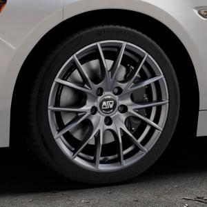 MSW 25 MATT TITANIUM TECH Felge mit Reifen in 17Zoll Winterfelge Alufelge auf silbernem Fiat 124 Spider Typ NF ⬇️ mit 15mm Tieferlegung ⬇️ Industriehalle 1 Thumbnail