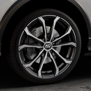 MSW 48 GLOSS BLACK FULL POLISHED Felge mit Reifen silber schwarz mehrfarbig in 19Zoll Alufelge auf silbernem Audi Q2 Typ GA ⬇️ mit 15mm Tieferlegung ⬇️ Industriehalle 1 Thumbnail