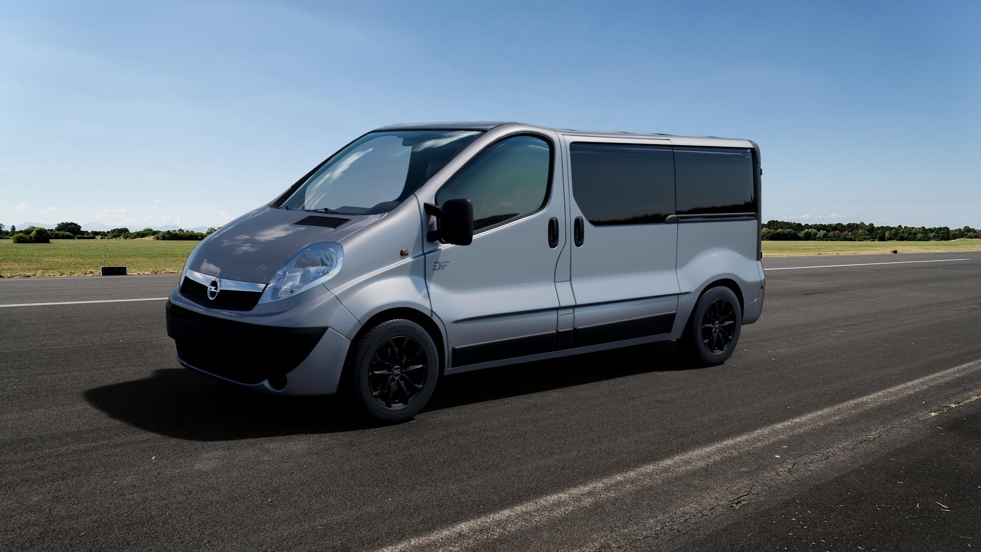 MSW 48 MATT BLACK Felge mit Reifen schwarz in 16Zoll Winterfelge Alufelge auf silbernem Opel Vivaro A Combi ⬇️ mit 15mm Tieferlegung ⬇️ Big_Vehicle_Airstrip_1 Frontansicht_1