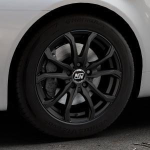MSW 48 MATT BLACK Felge mit Reifen schwarz in 17Zoll Winterfelge Alufelge auf silbernem Alfa Romeo 159 Sportwagon ⬇️ mit 15mm Tieferlegung ⬇️ Industriehalle 1 Thumbnail
