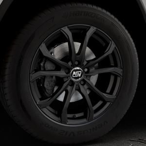 MSW 48 MATT BLACK Felge mit Reifen schwarz in 19Zoll Winterfelge Alufelge auf silbernem Jeep Grand Cherokee IV Typ WK ⬇️ mit 15mm Tieferlegung ⬇️ Industriehalle 1 Thumbnail