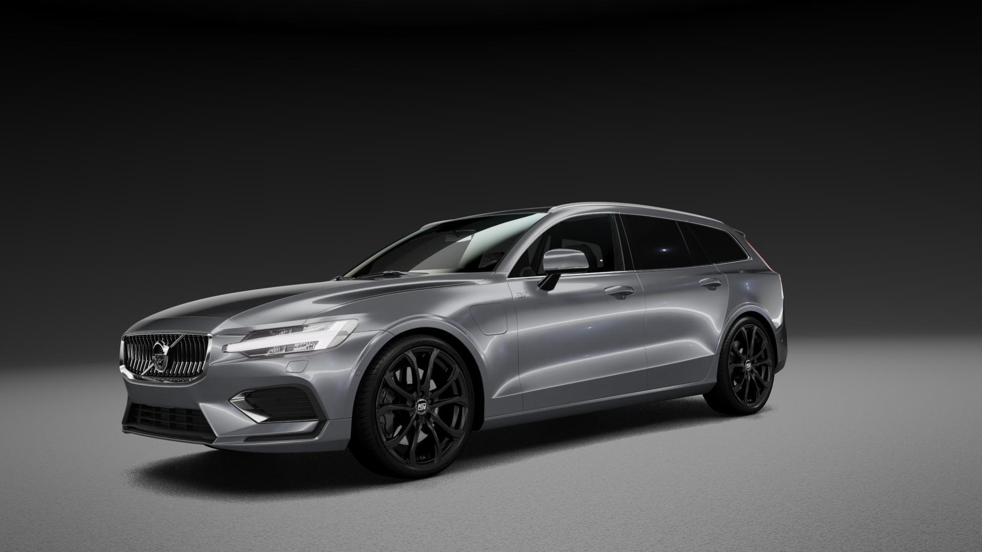 MSW 48 MATT BLACK Felge mit Reifen schwarz in 20Zoll Winterfelge Alufelge auf silbernem Volvo V60 Typ Z ⬇️ mit 15mm Tieferlegung ⬇️ Neutral_mid_max5300mm Frontansicht_1