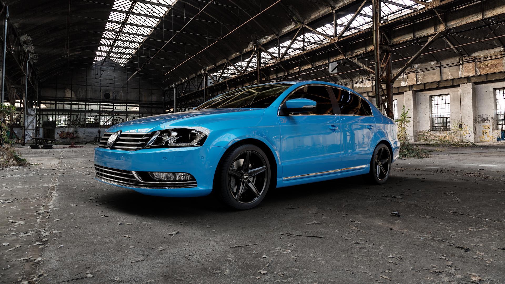OXIGIN 18 Concave black Felge mit Reifen schwarz in 18Zoll Winterfelge Alufelge auf hellblau Volkswagen (VW) Passat 3C/B7 Limousine ⬇️ mit 15mm Tieferlegung ⬇️ Industriehalle 1 Camera_000