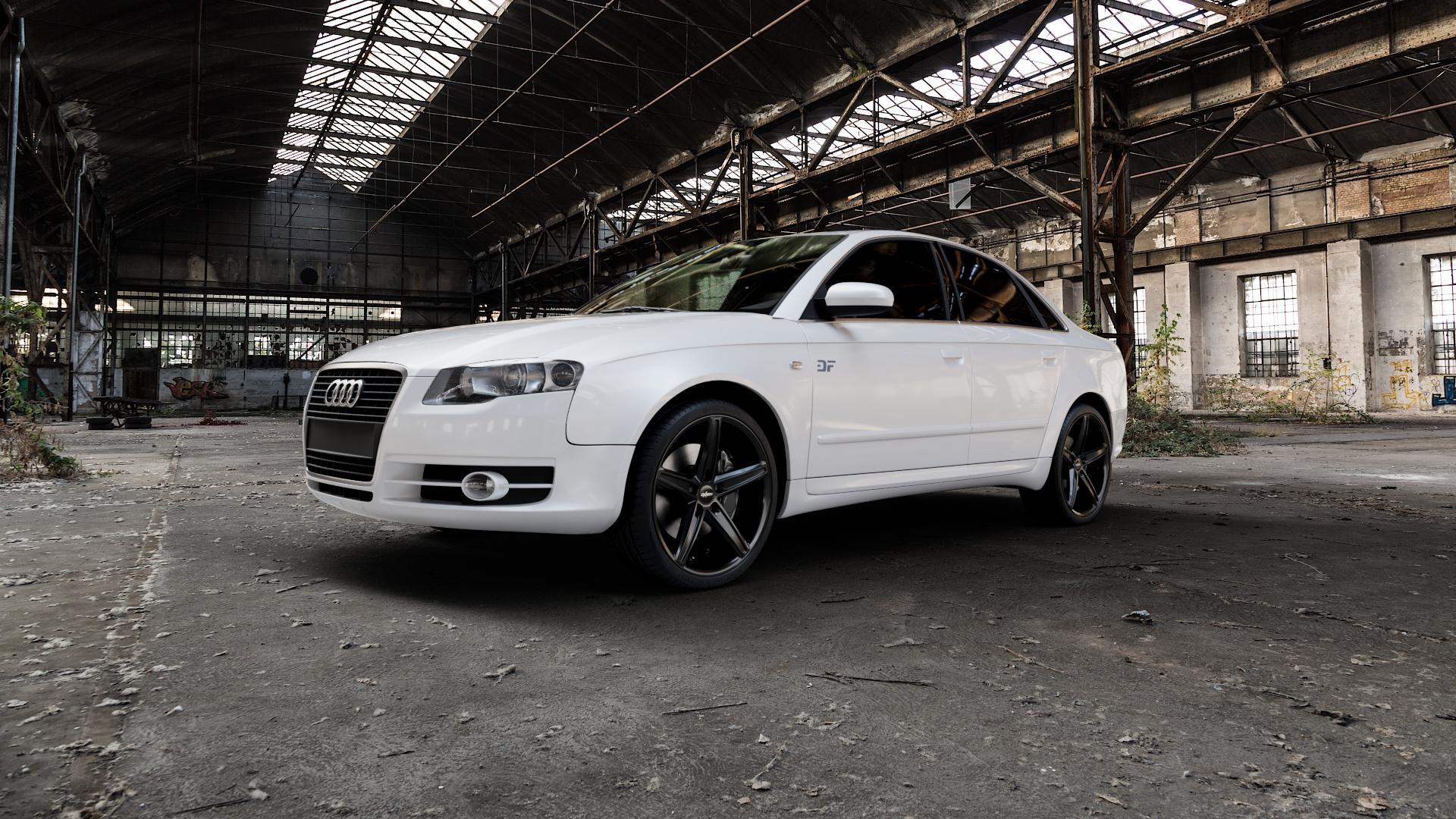 OXIGIN 18 Concave black Felge mit Reifen schwarz in 19Zoll Winterfelge Alufelge auf weissem Audi A4 Typ 8EC/B7 (Limousine) ⬇️ mit 15mm Tieferlegung ⬇️ Industriehalle 1 Camera_000