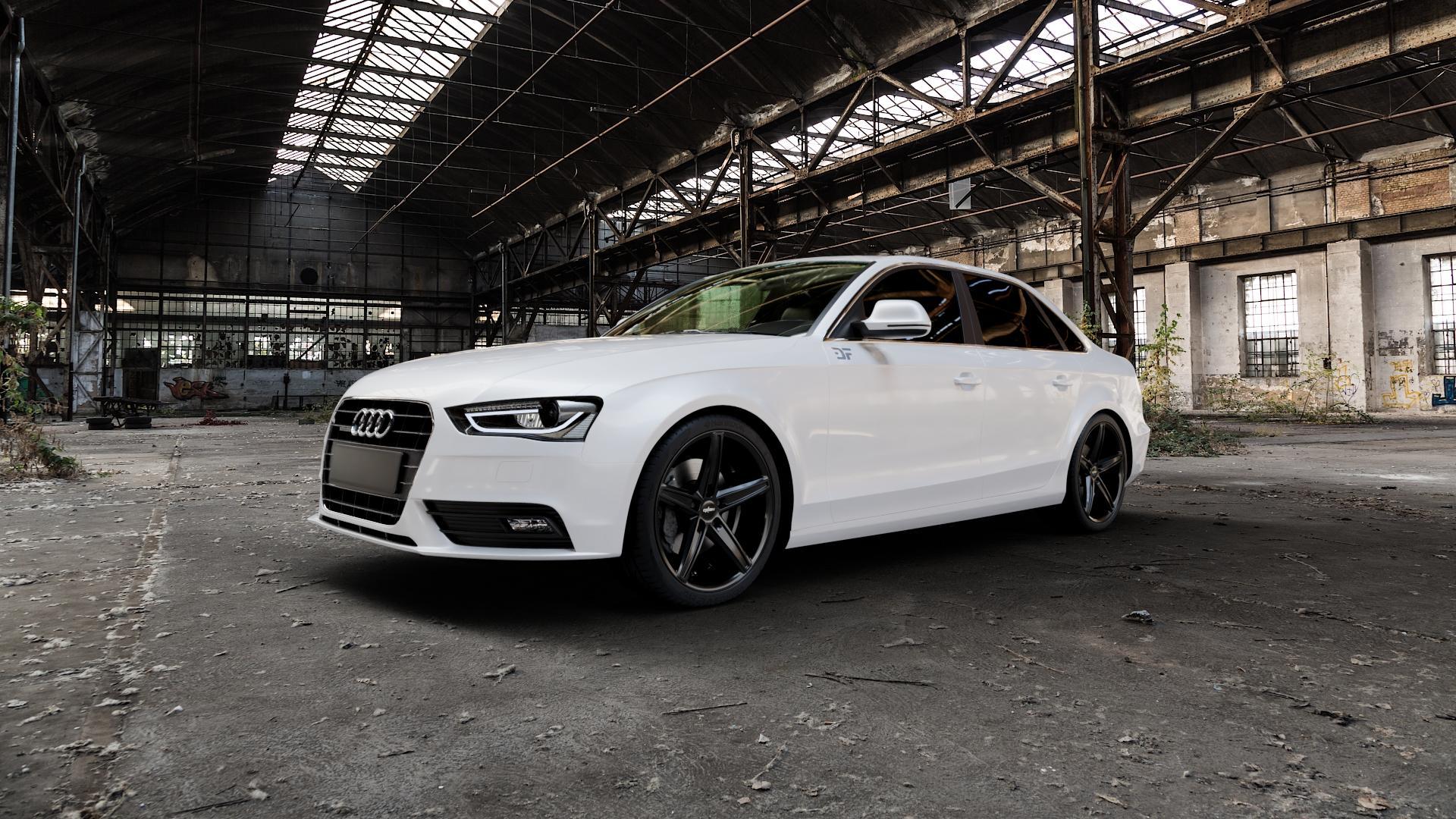 OXIGIN 18 Concave black Felge mit Reifen schwarz in 19Zoll Winterfelge Alufelge auf weissem Audi A4 Typ 8K2/B8 (Limousine) Facelift ⬇️ mit 15mm Tieferlegung ⬇️ Industriehalle 1 Camera_000