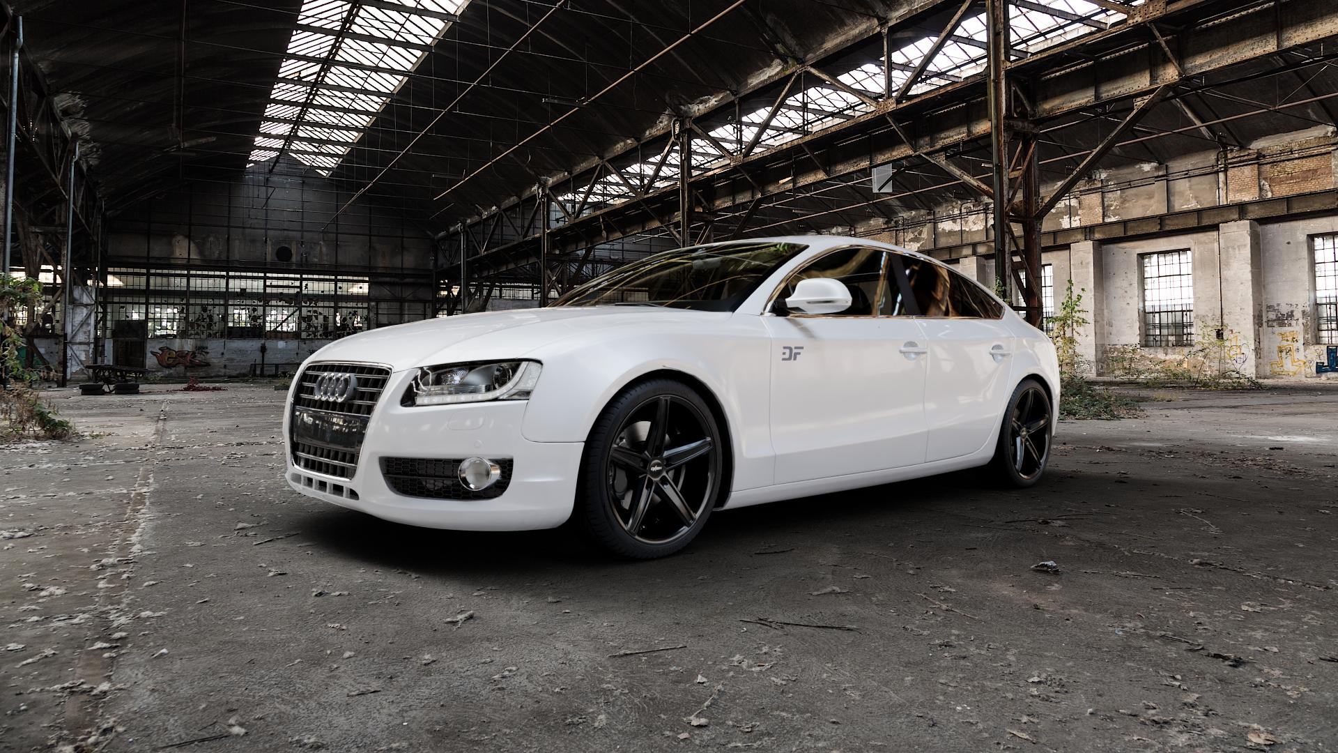 OXIGIN 18 Concave black Felge mit Reifen schwarz in 19Zoll Winterfelge Alufelge auf weissem Audi A5 Typ B8 (Sportback) ⬇️ mit 15mm Tieferlegung ⬇️ Industriehalle 1 Camera_000