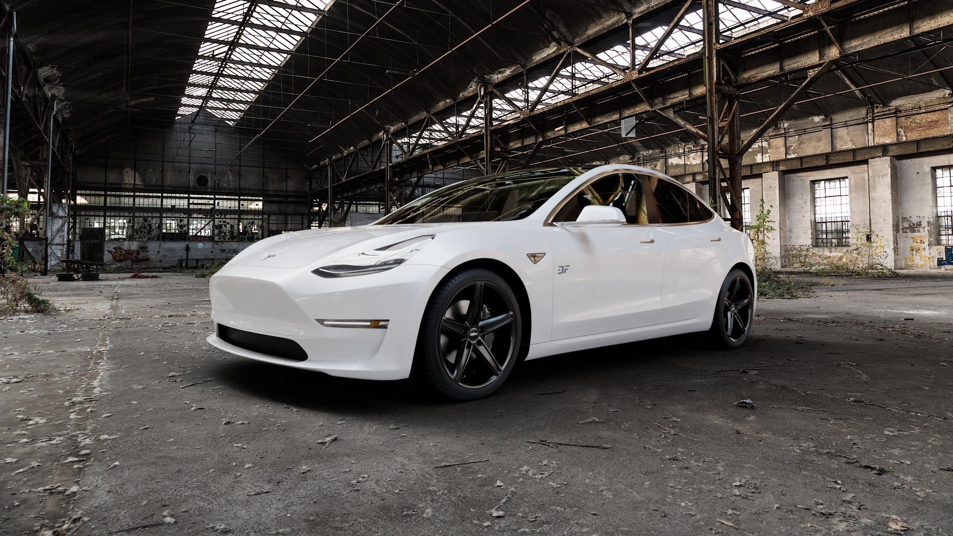 OXIGIN 18 Concave black Felge mit Reifen schwarz in 19Zoll Winterfelge Alufelge auf weissem Tesla Model 3 Typ 003 ⬇️ mit 15mm Tieferlegung ⬇️ Industriehalle 1 Camera_000