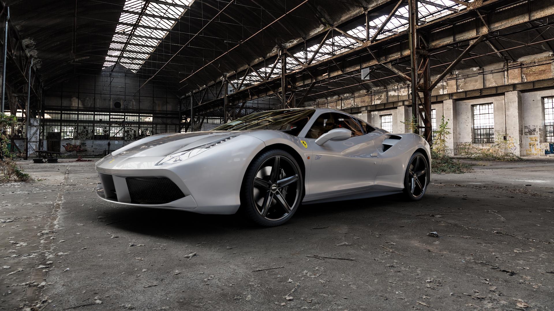 OXIGIN 18 Concave black Felge mit Reifen schwarz in 20Zoll Winterfelge Alufelge auf silbernem Ferrari 488 GTB ⬇️ mit 15mm Tieferlegung ⬇️ Industriehalle 1 Camera_000