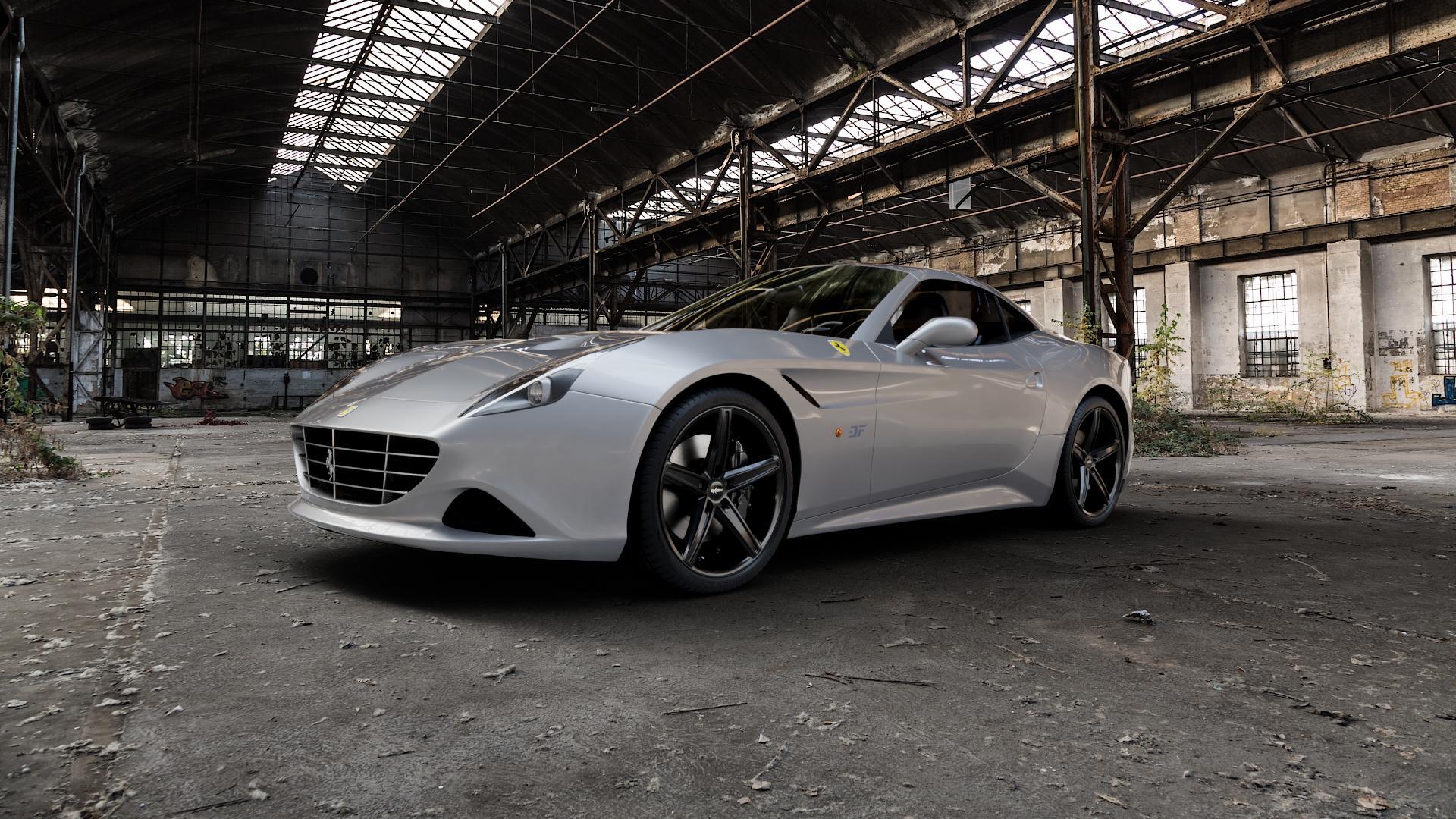 OXIGIN 18 Concave black Felge mit Reifen schwarz in 20Zoll Winterfelge Alufelge auf silbernem Ferrari California ⬇️ mit 15mm Tieferlegung ⬇️ Industriehalle 1 Camera_000